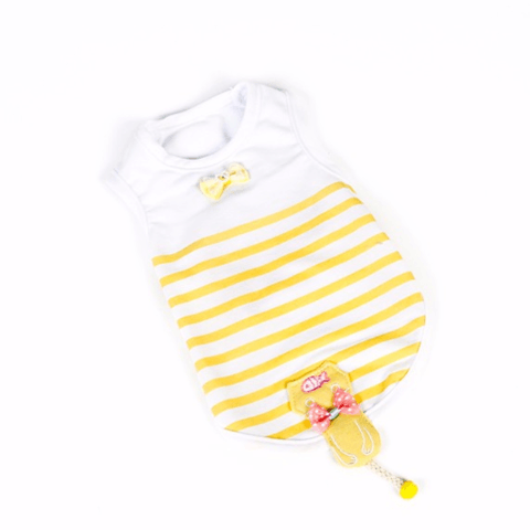 Fashion Striped Vest - Yellow  3/4 view