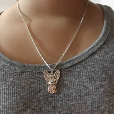 Sphynx Prune Necklace - Wearing