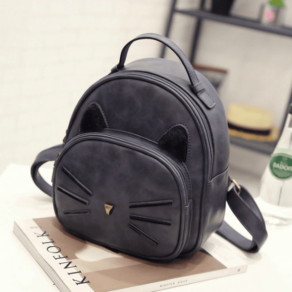 Kawaii Cat Ear Backpack - Gray
