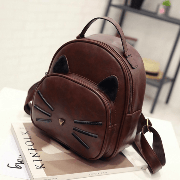 Kawaii Cat Ear Backpack - SaddleBrown