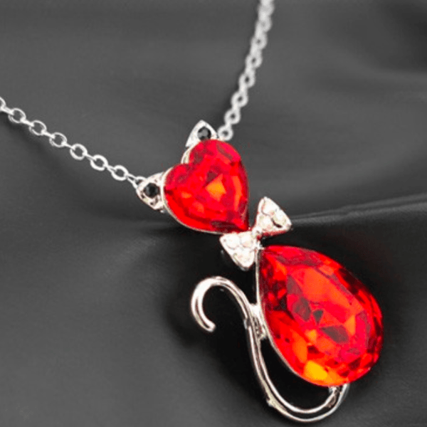 Austrian Crystal Cat Necklace red