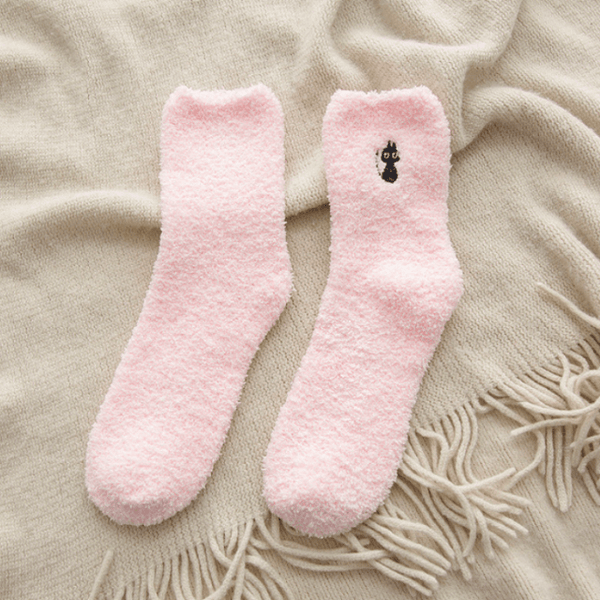 Winter Cat Embroidery Socks Pink