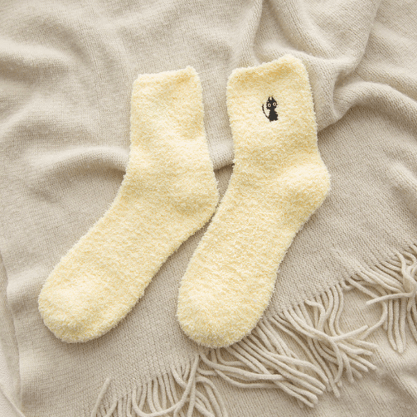 Winter Cat Embroidery Socks Yellow