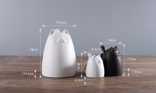 Black and White Ceramic Cats Figurine - Dimension
