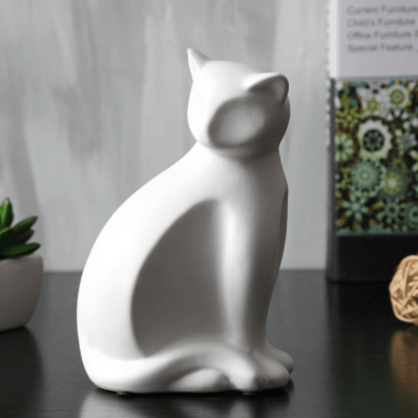 Minimalist Ceramic Lucky Cat Statue - White