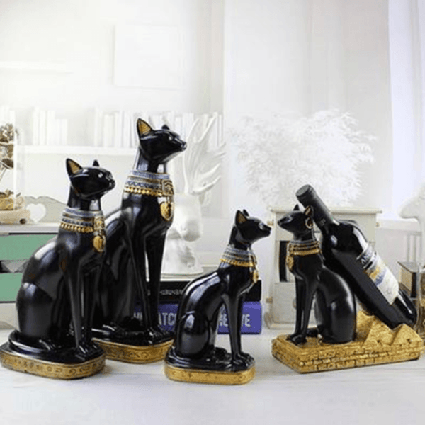 Family Egyptian Cat God Statue
