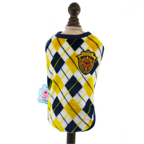 Flannel Cat Vest - Yellow