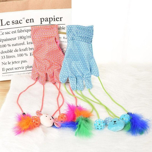 Interactive Cat toy Gloves | Blue & Pink