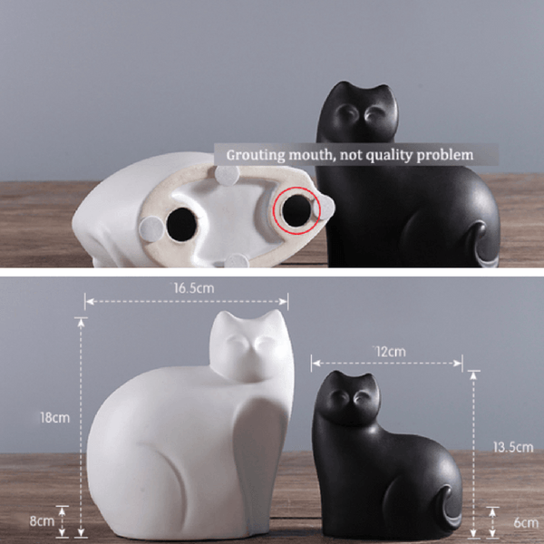 Mother And Son Ceramic Cats Statue - Size