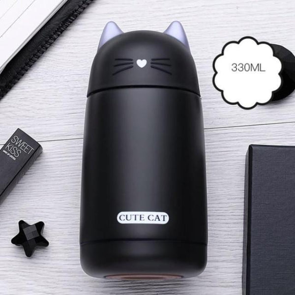 Cat Thermos Mug - Black