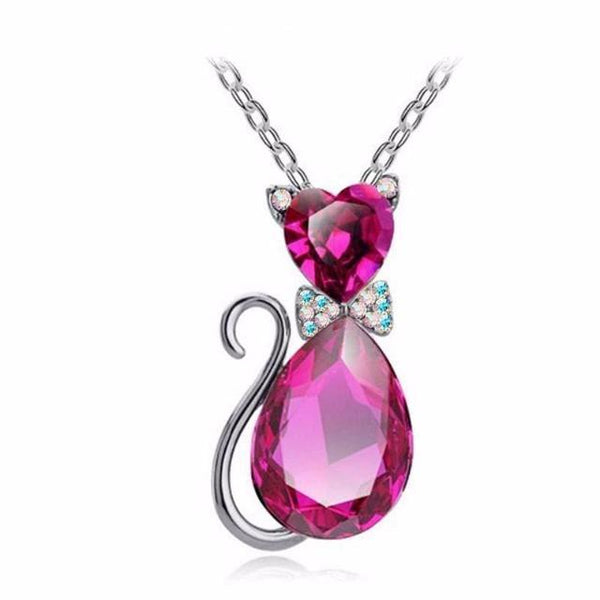 Pink Austrian Crystal Cat Necklace