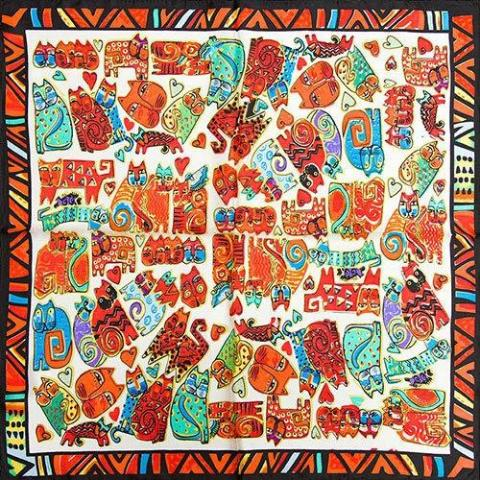The Indispensable - Scarves - Orange Lot Of Cats