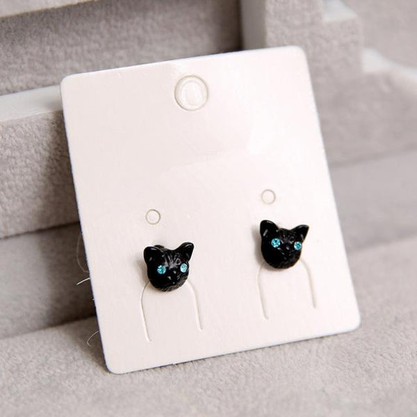 Cat Stud Earrings - Black