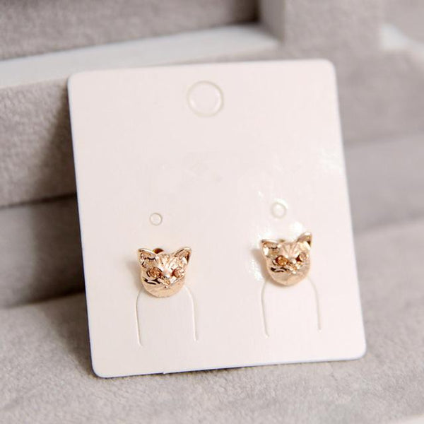 Cat Head Earrings - Gold