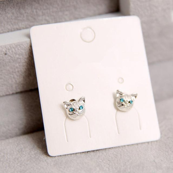 Cat Stud Earrings - Silver