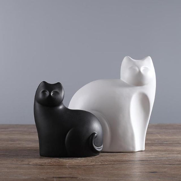 Mother And Son Ceramic Cats Statue