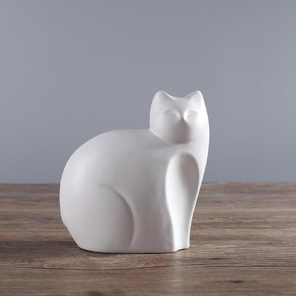 Mother And Son Ceramic Cats Statue - Mother