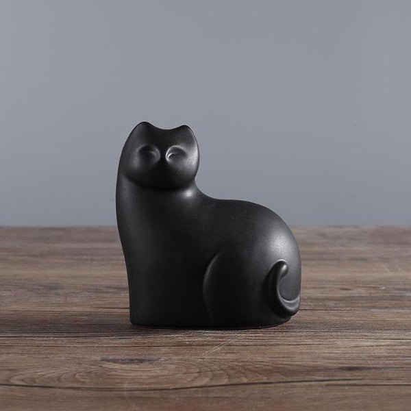 Mother And Son Ceramic Cats Statue - Black