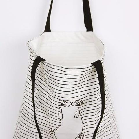 Cat Striped Handbag - Modele 2 Storage