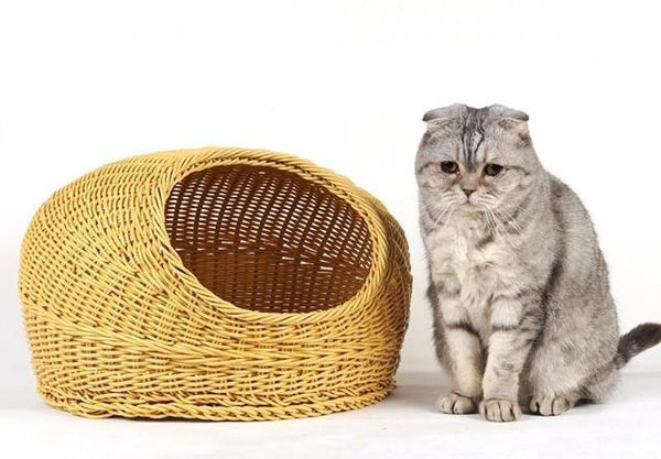 Cat Wicker Sleeping Basket - Cat To The Side