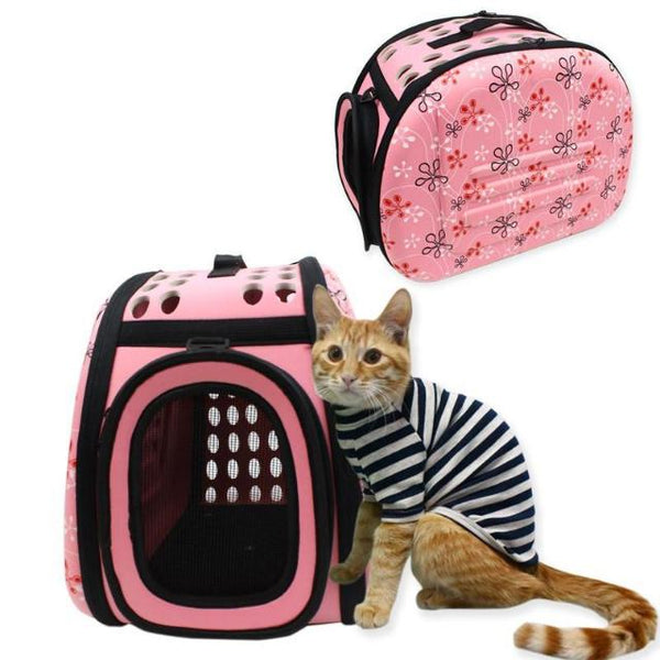 Foldable Cat Travel Carrier Bag - Pink