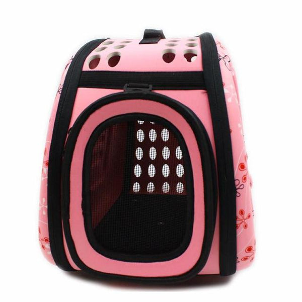 Foldable Cat Travel Carrier Bag - Pink Front