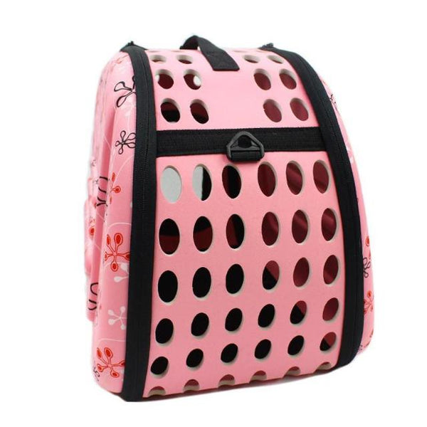 Foldable Cat Travel Carrier Bag - Pink Back
