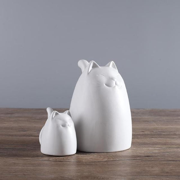 Black and White Ceramic Cats Figurine - 2 White