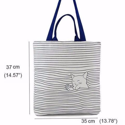 Cat Striped Handbag - Size