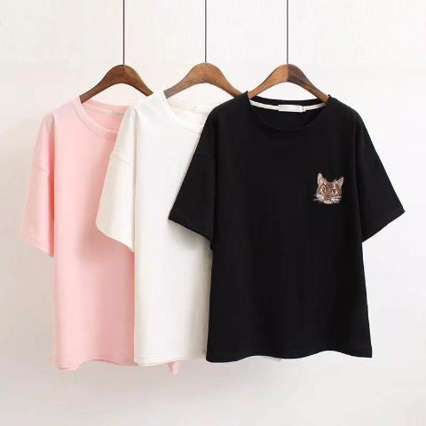 MMTS Cat Embroidered T Shirt