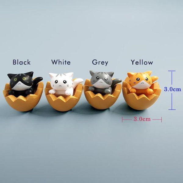 Cutie Eggshell Cat Figurine - Colors