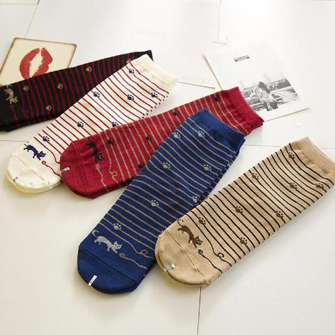 5 Cute Cat Striped Socks Pairs