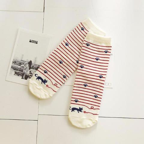 BlanchedAlmond Striped Socks