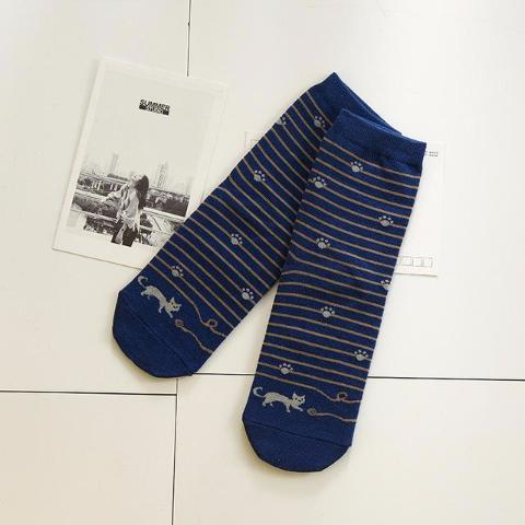 Darkblue Striped Socks