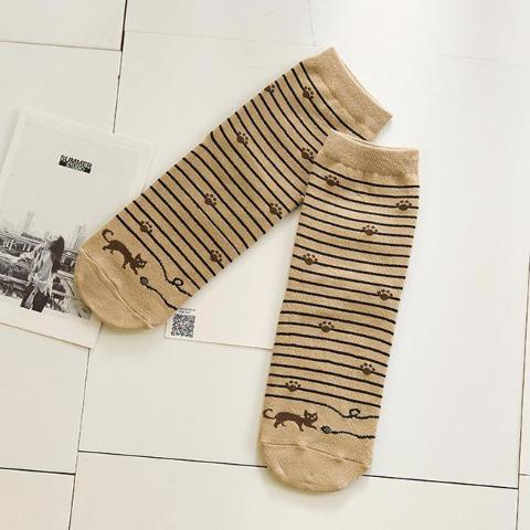 Khaki Striped Socks