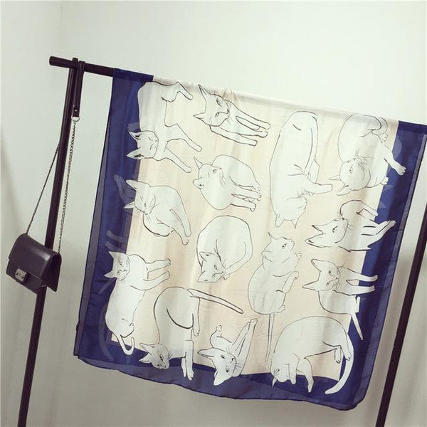 Luxury Silk Cat Scarf - Dark Blue
