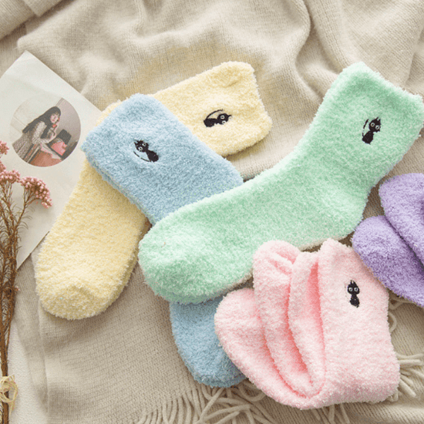Winter Cat Embroidery Socks - Available in 5 Colors