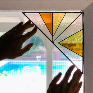 Load image into Gallery viewer, Corner Mounted Large Triangle Stained Glass - Pink Buckwheat
