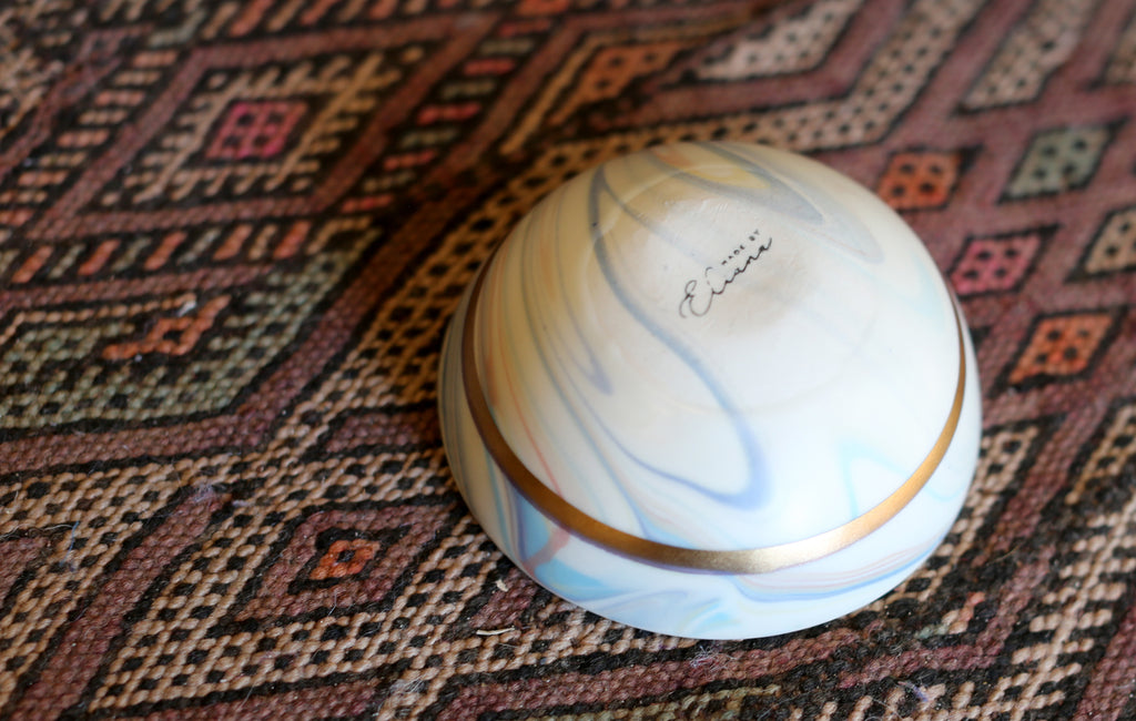 Candy Marbled Porcelain Bowl with Gold Stripe