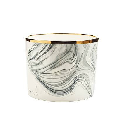 Marbled Porcelain Planter with Gold Rim
