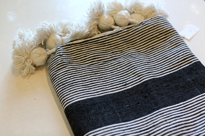Moroccan Pom Pom Blanket, Md. Cotton in Black w/ Cream Stripe