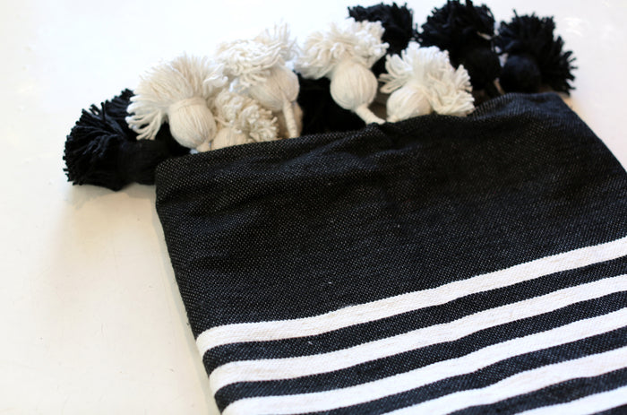 Moroccan Pom Pom Blanket, Lg. Cotton in Black w/ Cream Stripes
