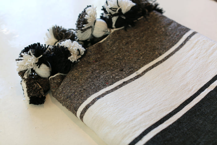 Moroccan Pom Pom Blanket, Md. Cotton in Chocolate, Cream & Black