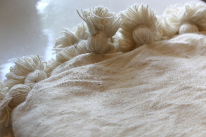 Moroccan Pom Pom Blanket, Lg. Wool in Cream