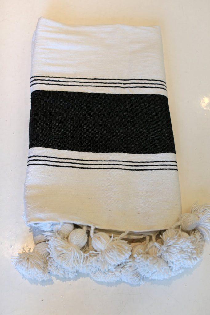 Moroccan Pom Pom Blanket, Lg. Cotton in Cream w/ Black Block