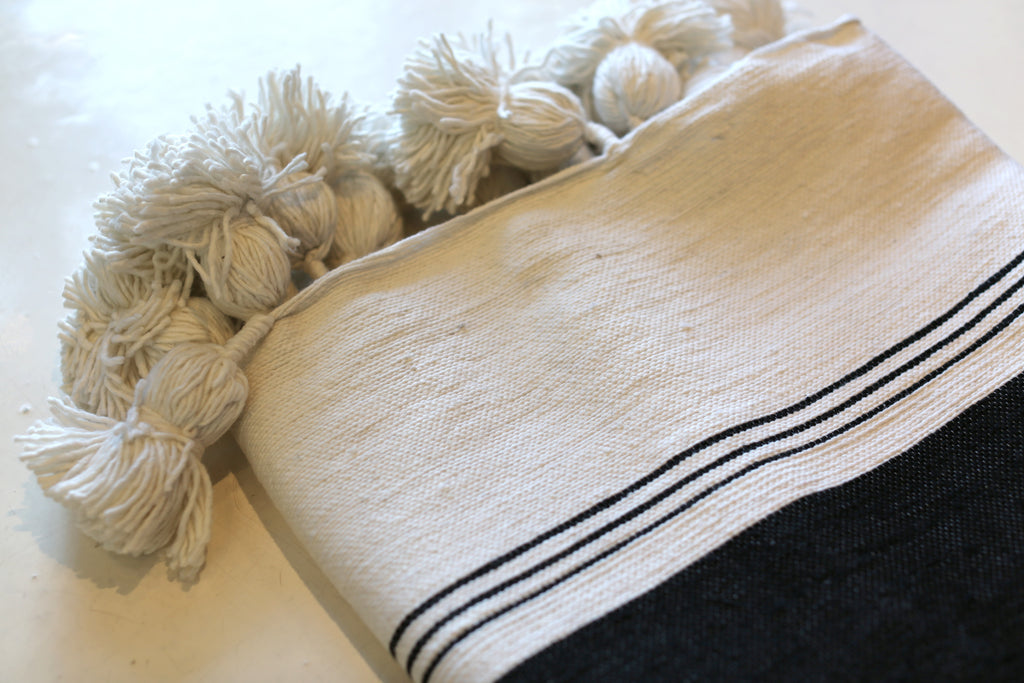 Moroccan Pom Pom Blanket, Md. Cotton in Cream w/ Black Block