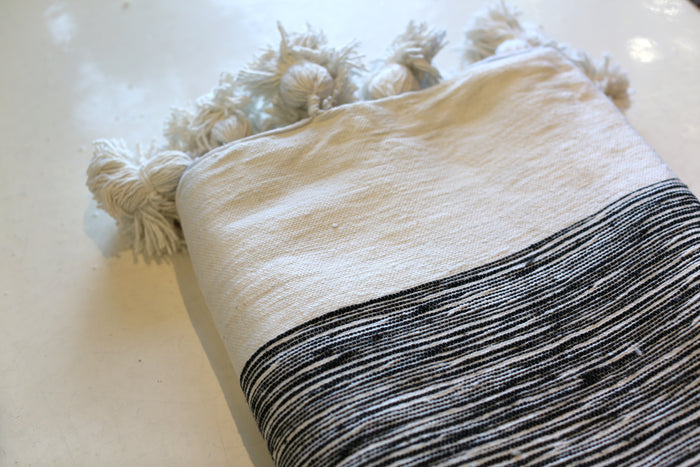 Moroccan Pom Pom Blanket, Lg. Cotton in Black & Cream Marble