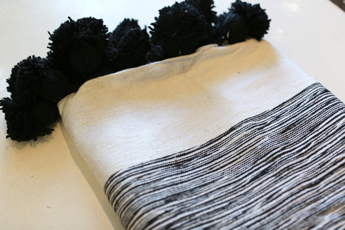 Moroccan Pom Pom Blanket, Md. Cotton in Black & Cream Marble