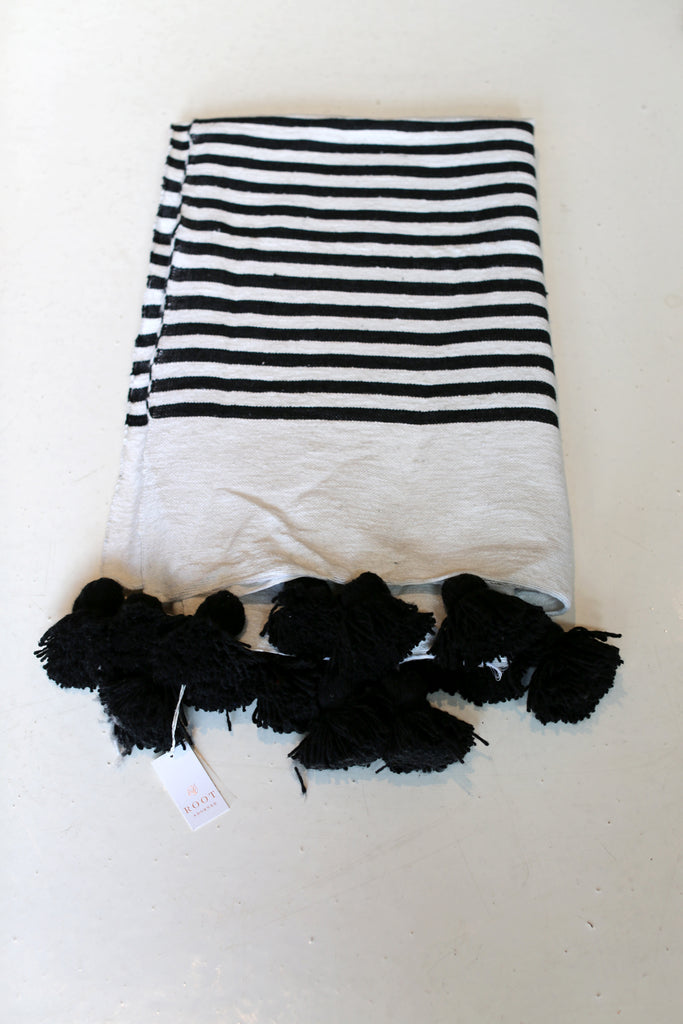 Moroccan Pom Pom Blanket, Md. Cotton in Black & Cream Wide Stripe