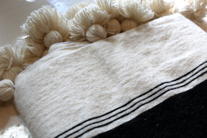 Moroccan Pom Pom Blanket, Lg. Wool in Cream w/ Black Block